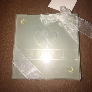 Frosted Glass Love Coaster Set
